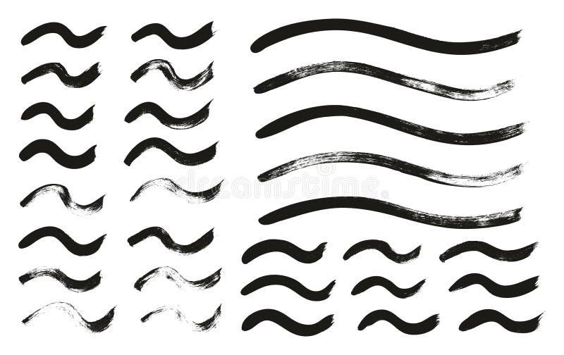 Kalligraphie-Farben-dünne Bürste zeichnet gewelltes hohes Detail, Zusammenfassungs-Vektor-, denhintergrund 133 einstellte vektor abbildung