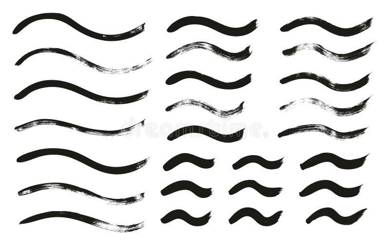 Kalligraphie-Farben-dünne Bürste zeichnet gewelltes hohes Detail, Zusammenfassungs-Vektor-, denhintergrund 138 einstellte vektor abbildung