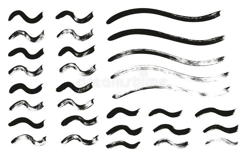 Kalligraphie-Farben-dünne Bürste zeichnet gewelltes hohes Detail, Zusammenfassungs-Vektor-, denhintergrund 131 einstellte lizenzfreie abbildung