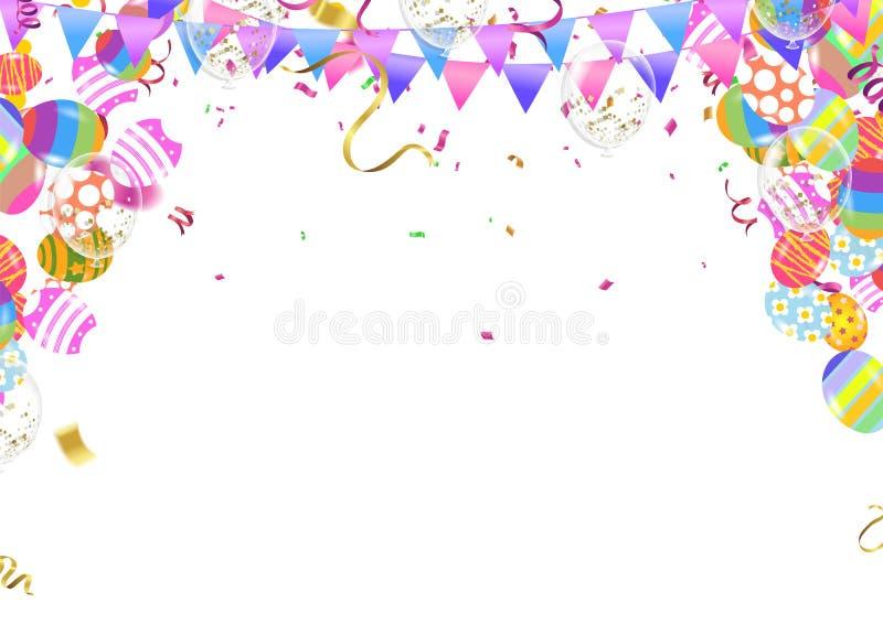 Kalligraphie mit Zusammenfassung steigt Bunny Ears, glückliches Ostern-Hintergrundfeiertagsfeier-Plakatdesign im Ballon auf Auch  vektor abbildung