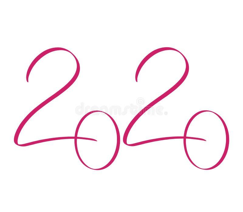 Kalligraphieentwurfsschablone für 2020-jähriges Handgezogene rote Zahl 2020-guten Rutsch ins Neue Jahr-Beschriftung auf weißem Hi stock abbildung