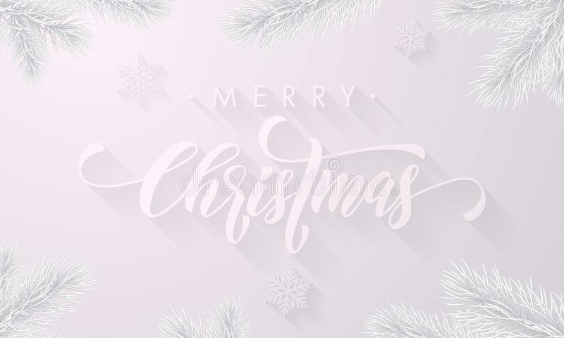 Kalligraphieguß des Frosts der frohen Weihnachten eisiger und weißer Schneehintergrund mit gefrorenen Eisschneeflocken für Winter lizenzfreie abbildung