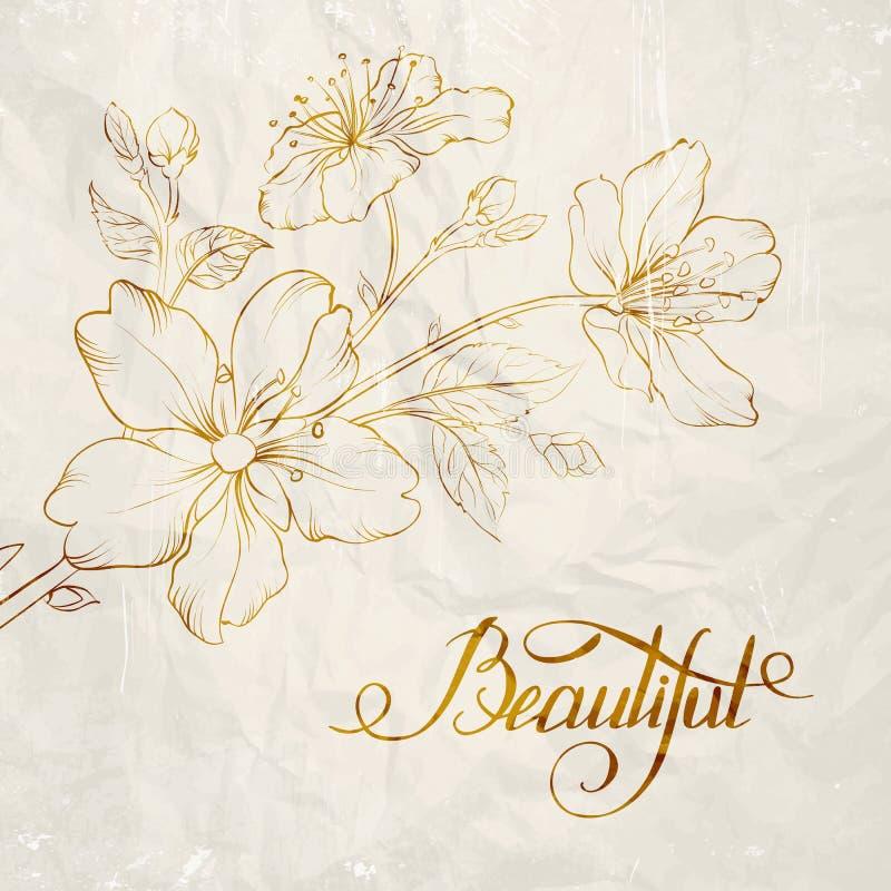 Kalligraphiekirschblüte. stock abbildung