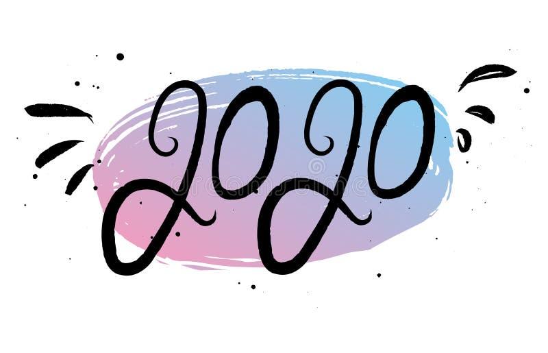 Kalligraphiephrase 2020 des neuen Jahres stock abbildung
