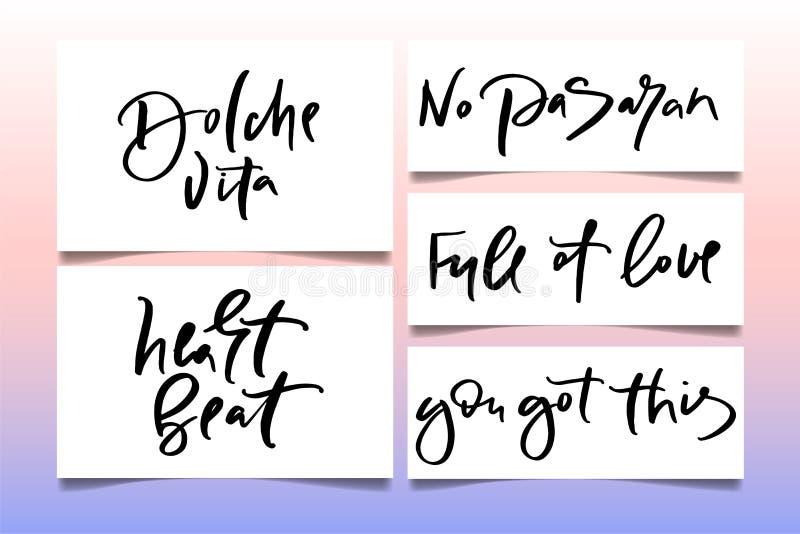 Kalligraphietext für T-Shirt Frauen entwerfen, weiblicher Internet-Shop Kurven Sie Beschriftung dolche vita kein pasaran voll der vektor abbildung