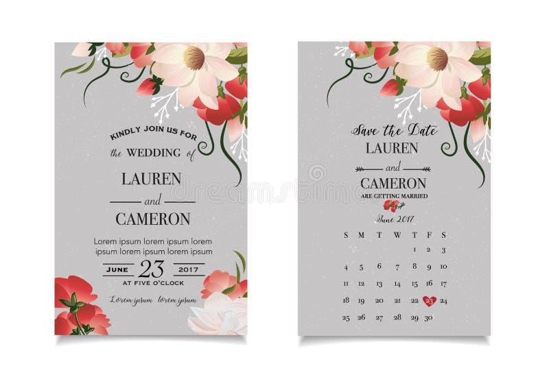 Kalligraphievektor Schöne Hochzeitseinladung mit Kalender und zusammengebrachtem Datum stock abbildung