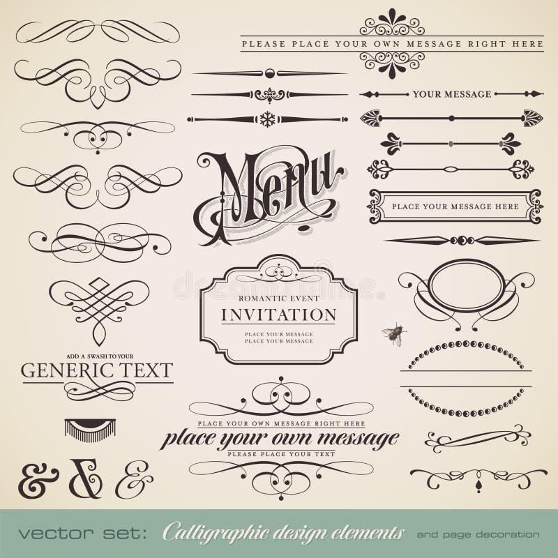Kalligraphische Auslegungelemente lizenzfreie abbildung