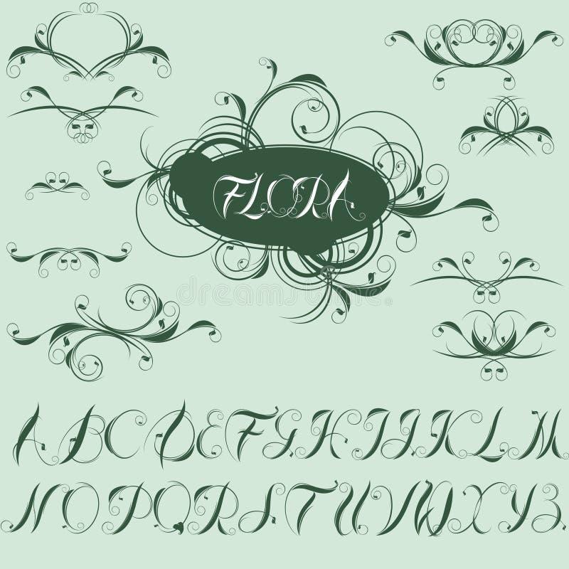 Kalligraphische Auslegungelemente und -alphabet lizenzfreie abbildung