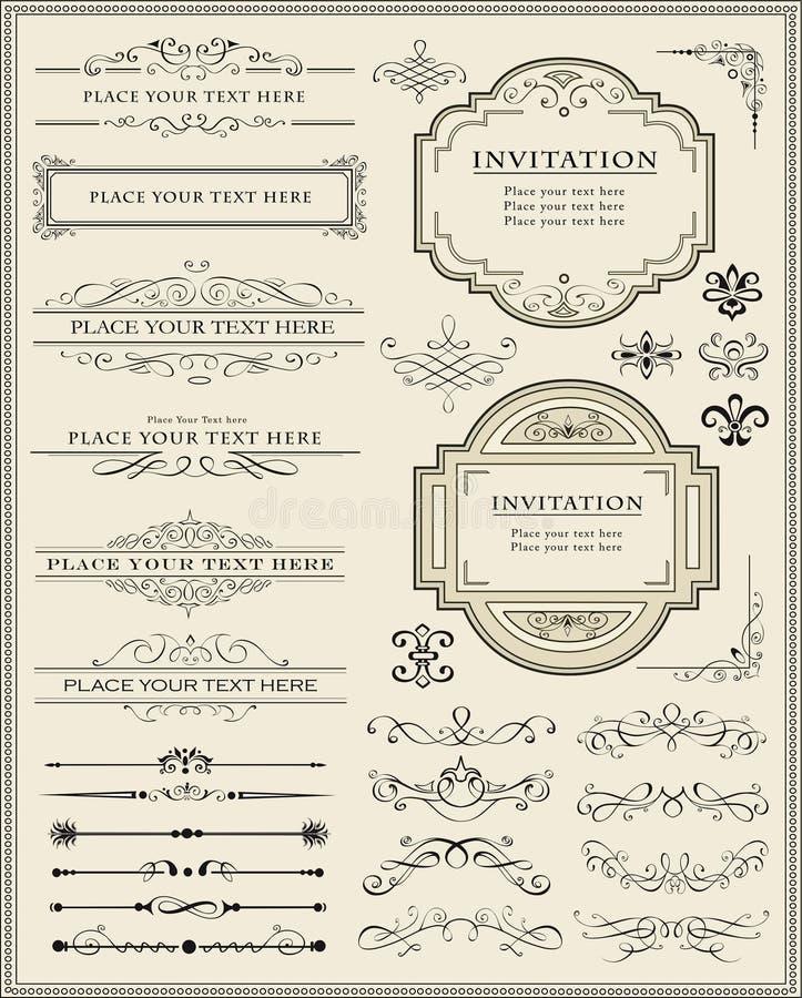 Kalligraphische Auslegungelemente und Seitendekoration stock abbildung