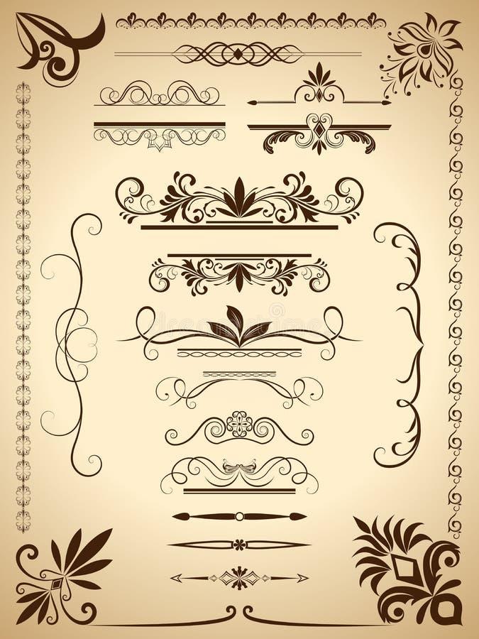 Kalligraphische Elemente der Weinlese lizenzfreie abbildung