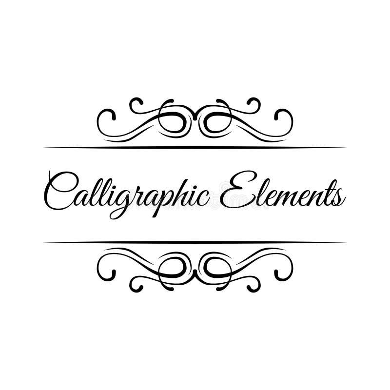 Kalligraphische Elemente Weinleserahmengrenzrollen-Blumenverzierung Dekoratives Auslegungelement Vektor lizenzfreie abbildung