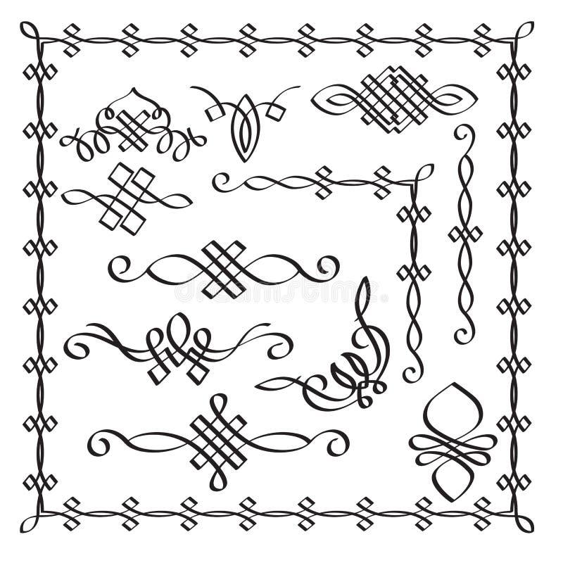 Kalligraphische Gestaltungselemente des Vektors Hand gezeichnetes modernes Calligra vektor abbildung