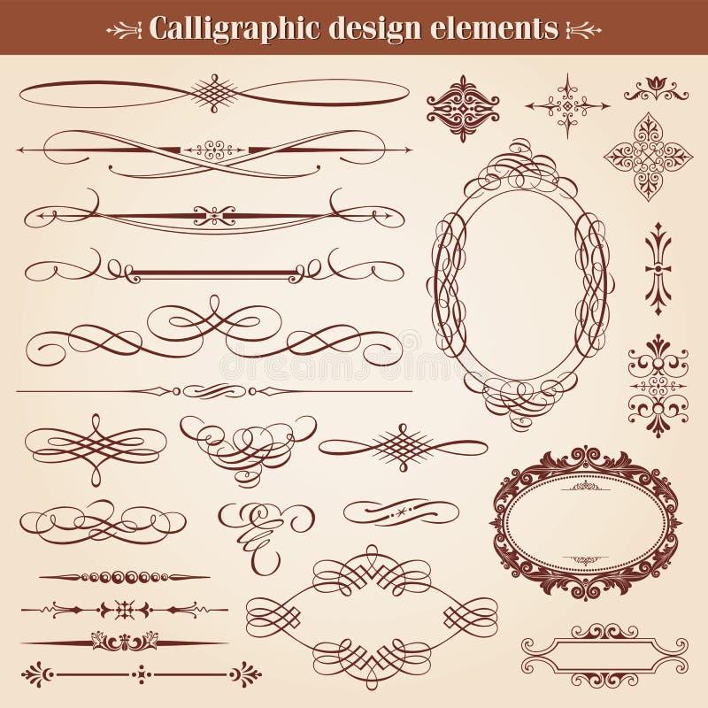 Kalligraphische Gestaltungselemente und Seiten-Dekoration lizenzfreie abbildung