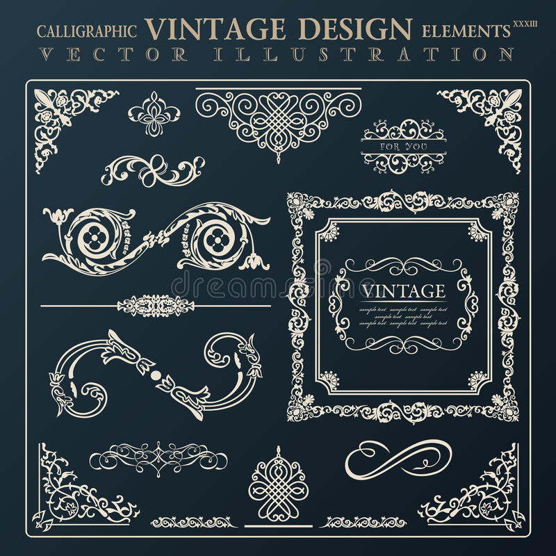 Kalligraphische Gestaltungselementweinleseverzierung Vektorrahmen deco lizenzfreie abbildung
