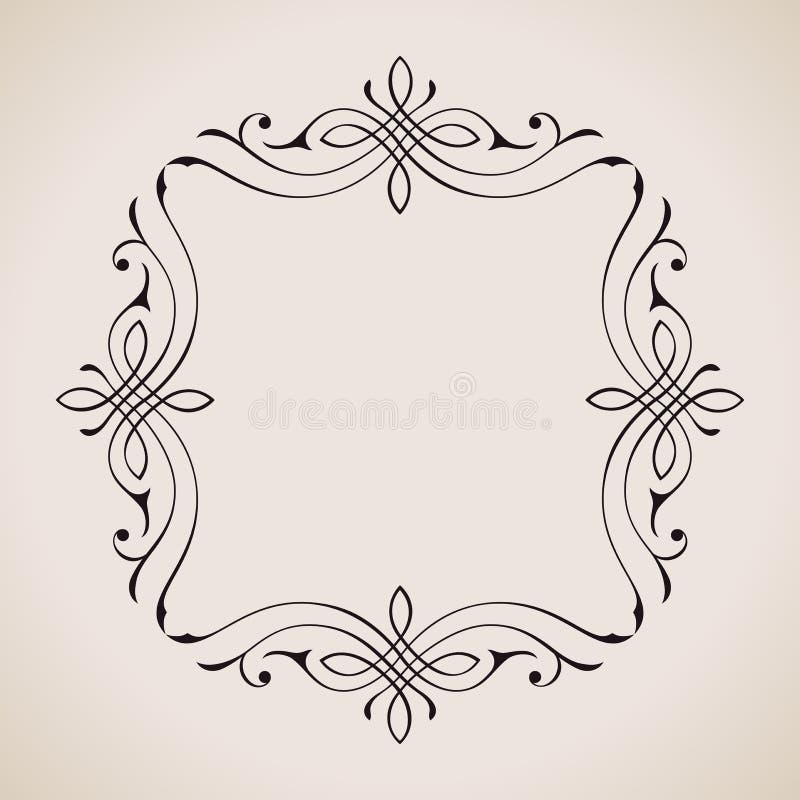 Kalligraphische Rahmen-und Seiten-Dekoration Vektor lizenzfreie abbildung