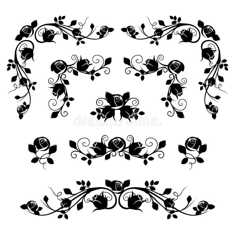 Kalligraphische Vignetten der Weinlese mit den rosafarbenen Knospen. lizenzfreie abbildung