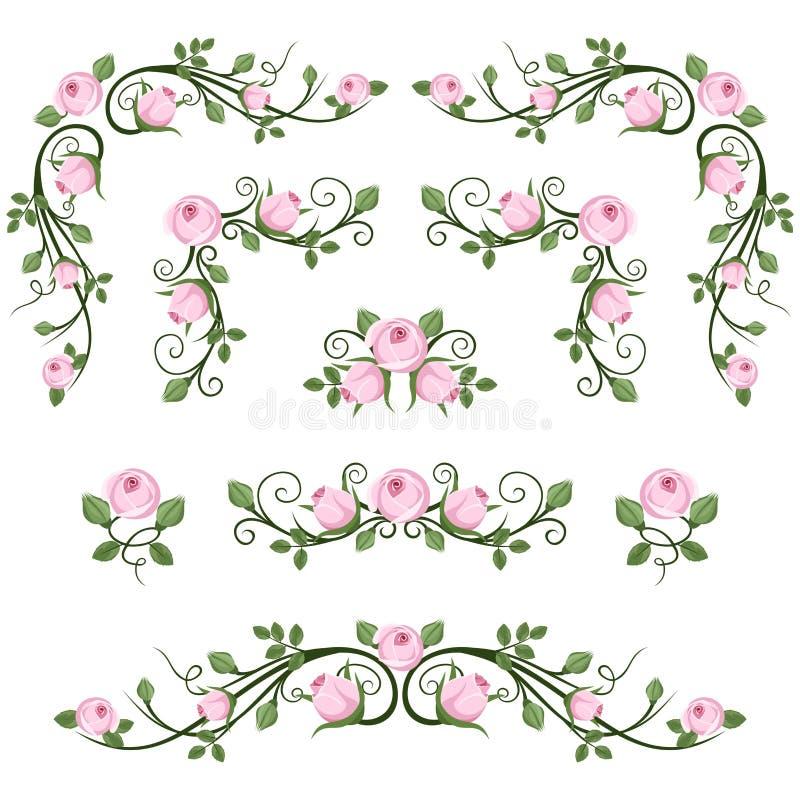 Kalligraphische Vignetten der Weinlese mit rosa Rosen. stock abbildung