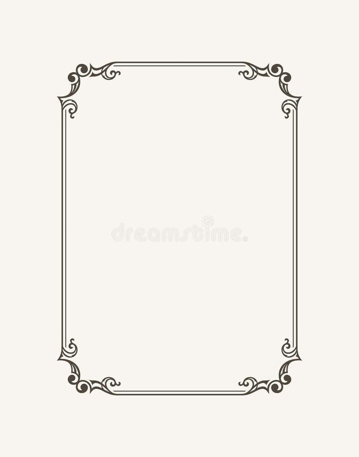 Kalligraphischer Rahmen der Weinlese Schwarzweiss-Vektorgrenze der Einladung, Diplom, Zertifikat, Postkarte lizenzfreie abbildung
