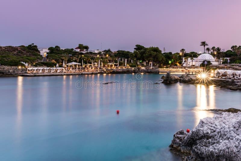 Kallithea Springs po zachodzie słońca, Romantic Destination w Rodos, Grecja obrazy royalty free
