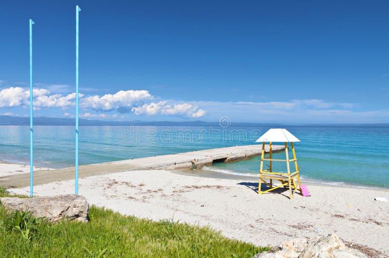 Halkidiki summer resort in Greece. Kallithea summer resort at Kassandra of Halkidiki peninsula in Greece royalty free stock images