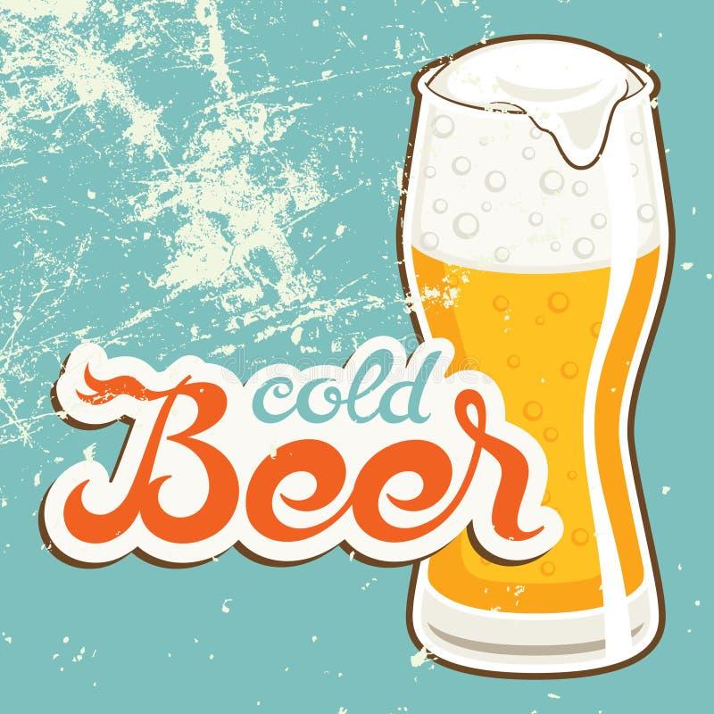 Kallt öl stock illustrationer