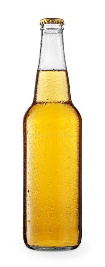 Kallt öl eller äppeljuice i glasflaska royaltyfria foton