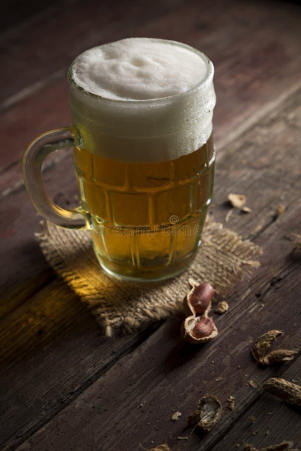 Kallt öl och jordnötter royaltyfri foto