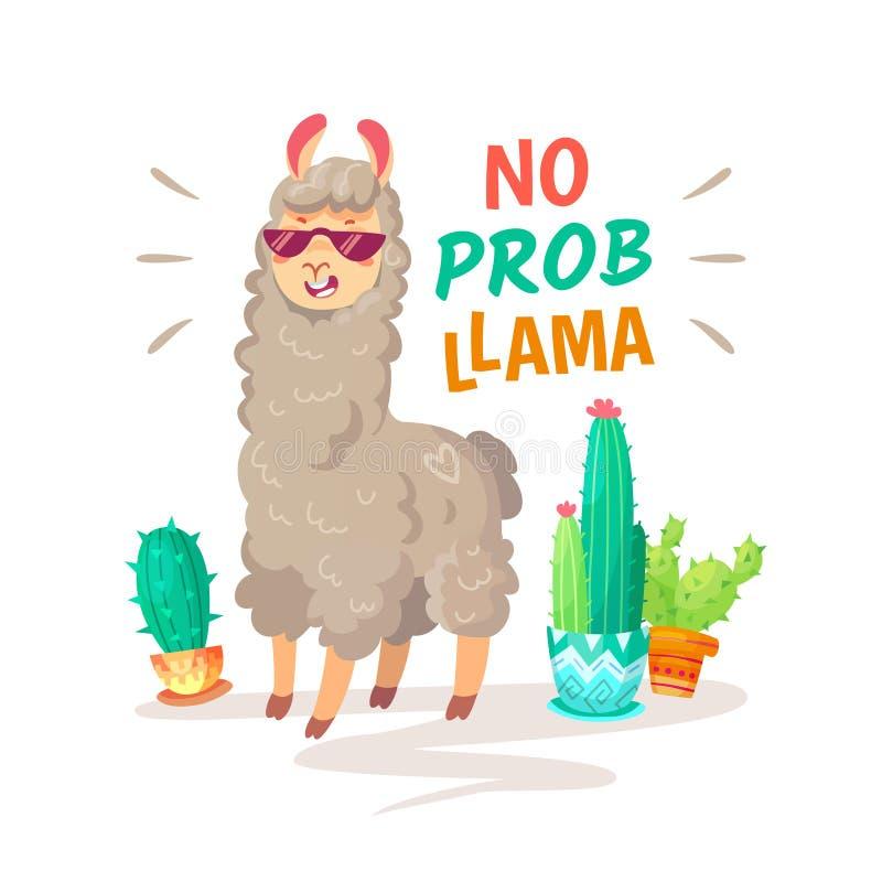 Kallt alpacabokstävercitationstecken med ingen problama Det roliga djurlivdjuret, lama citerar vektorbegrepp stock illustrationer