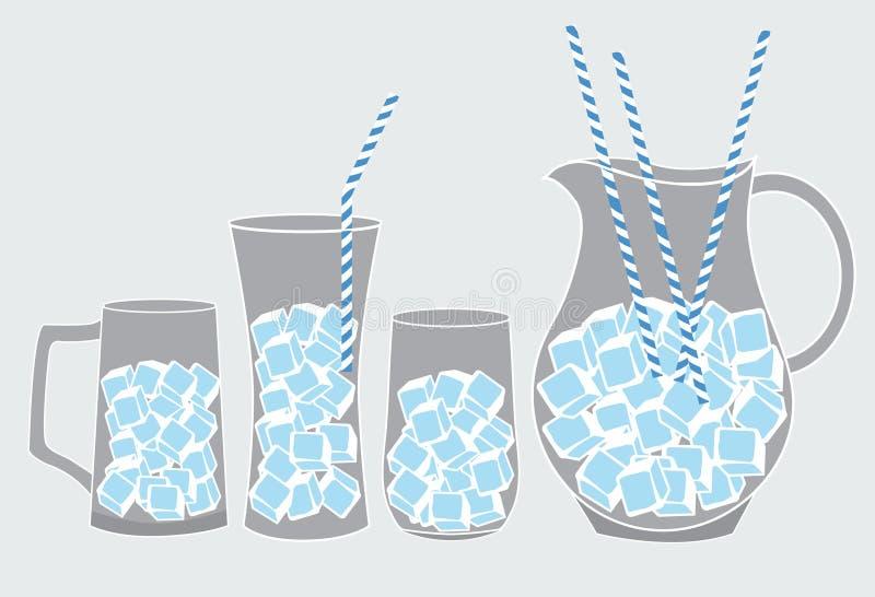 Kallt exponeringsglas av med is, illustrationer vektor illustrationer