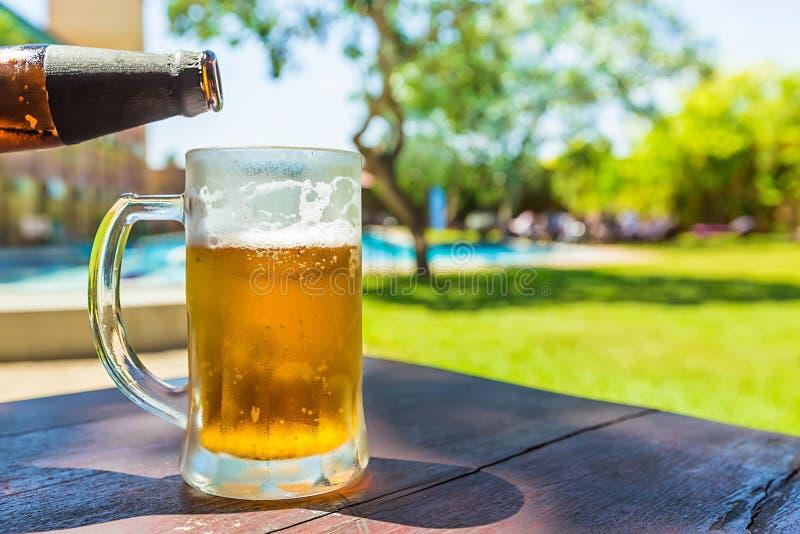 kallt exponeringsglas för öl royaltyfria foton