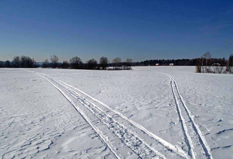 Kallt och snöig vinterfält royaltyfri bild