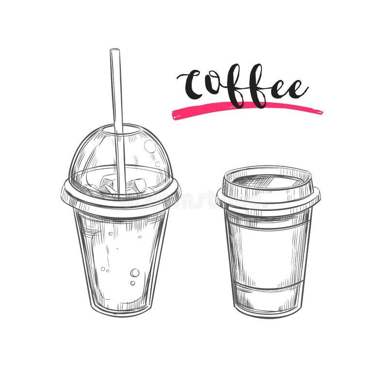 Kallt och varmt kaffe drinkar Tecknad illustration för vektor hand exponeringsbärbar datorlampa skissar stil royaltyfri illustrationer