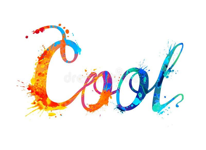kallt Skriftligt ord för hand av färgstänkmålarfärg vektor illustrationer