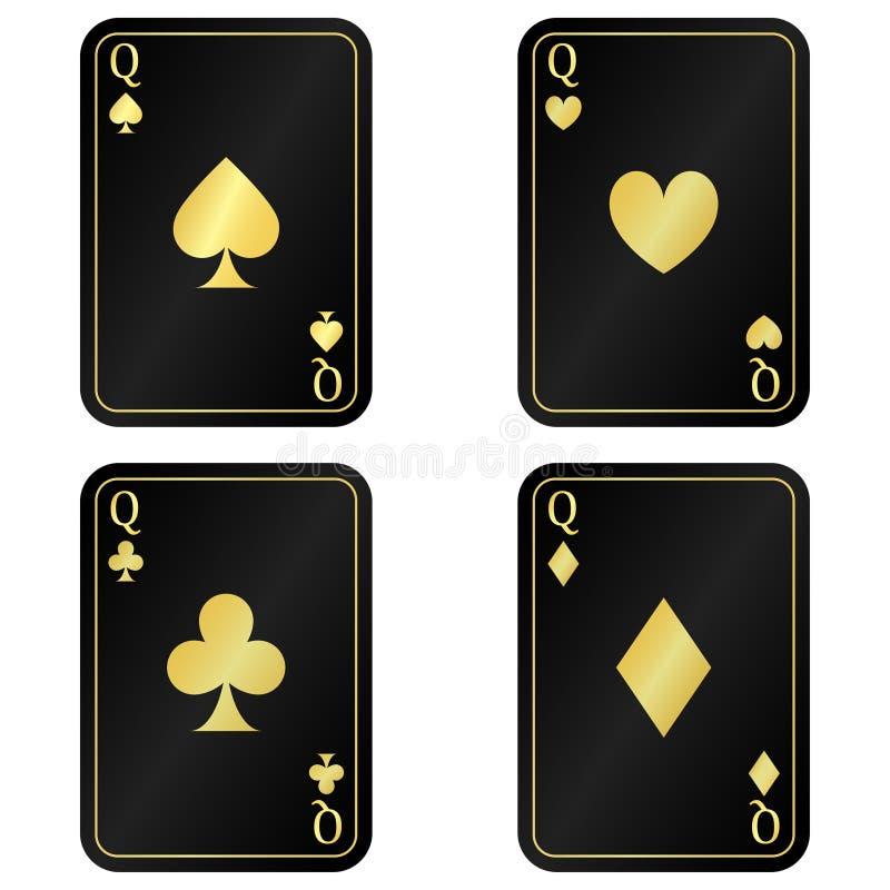 Kallt ställ in det svarta kortet för Queens fyra med guld vektor illustrationer