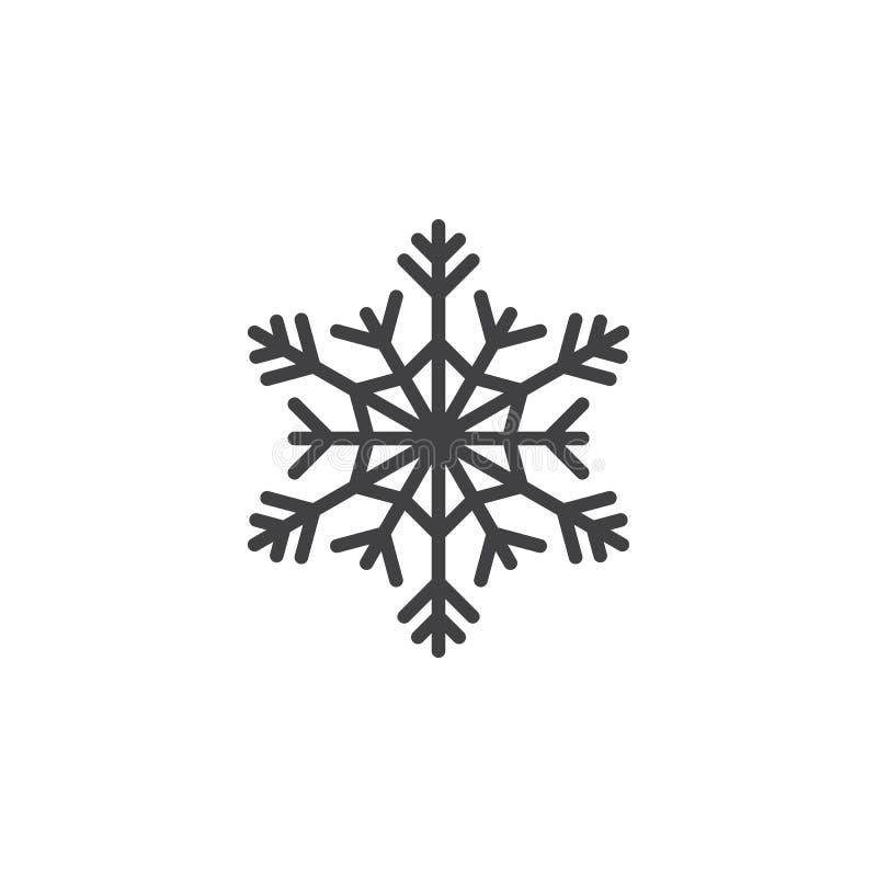 Kallt symbol, snöflingalinje symbol, översiktsvektortecken, linjär pi stock illustrationer