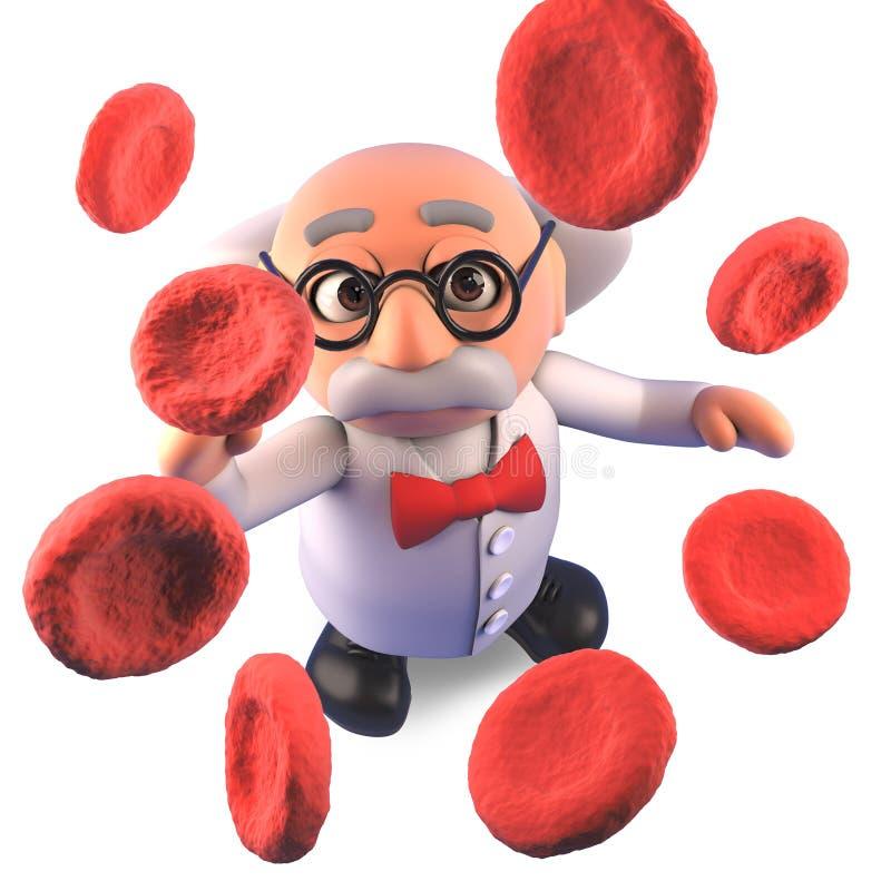 Kallt tokigt forskareprofessortecken som studerar upp nära plasma för blodceller, illustration 3d stock illustrationer