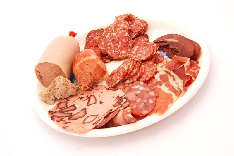 kallt tyskt meatuppläggningsfat arkivfoto