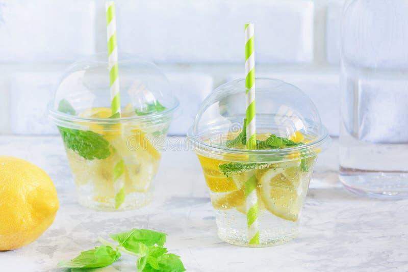 Kallt uppfriskande vatten med citron- och mintkaramellbladet arkivfoto