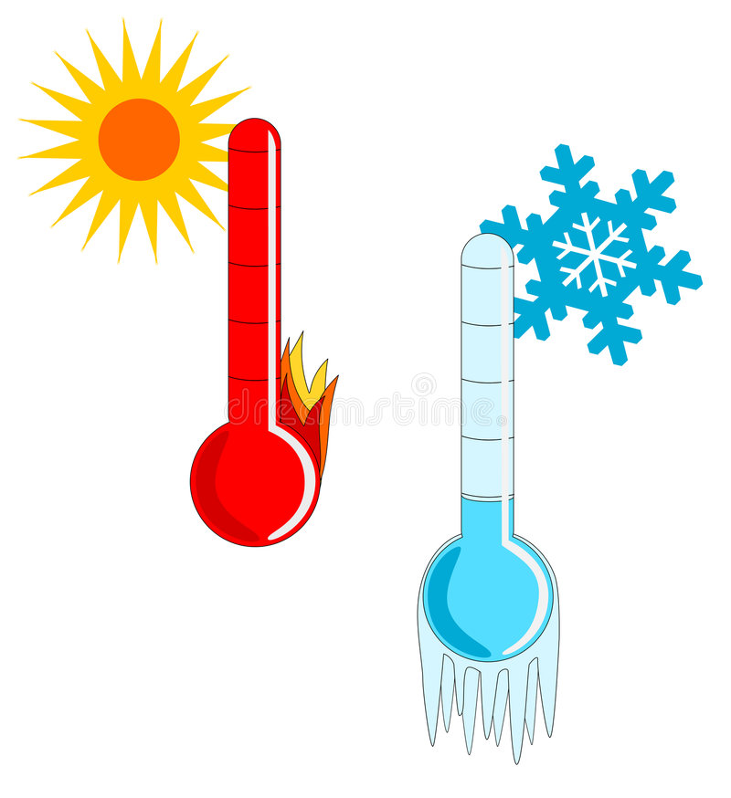 kallt varmt väder royaltyfri illustrationer