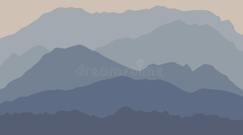 kalm berglandschap met mist en mist royalty-vrije illustratie