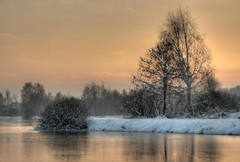 Kalm de winterlandschap royalty-vrije stock afbeelding