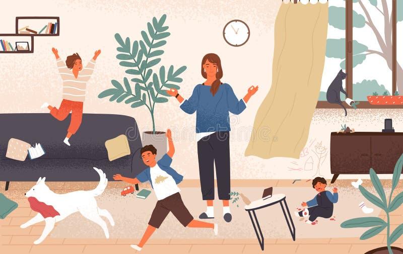 Kalm mamma en ongehoorzame schadelijke kinderen die rond haar lopen Moeder door jonge geitjes wordt omringd die berusting probere royalty-vrije illustratie