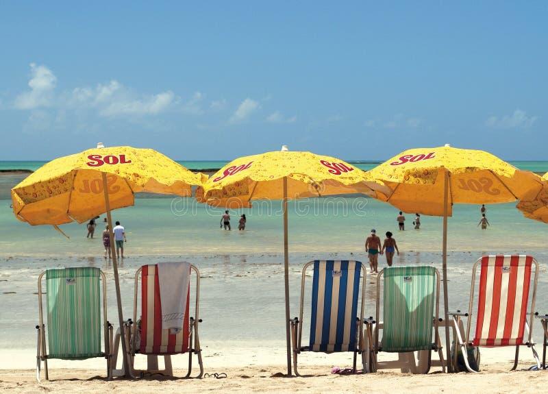 Kalm strand in Brazilië stock foto's