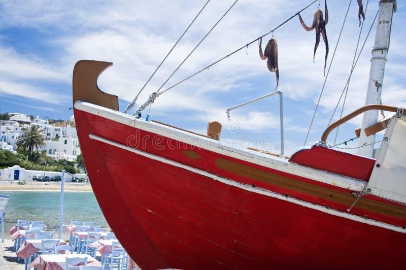Kalmar auf einem roten Boot lizenzfreie stockfotos