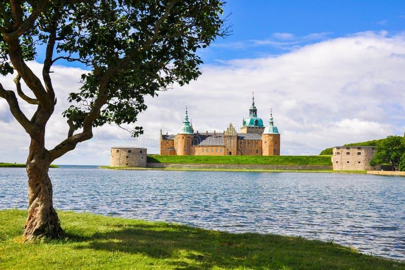 Kalmarkasteel en boom op een Zonnige dag royalty-vrije stock foto