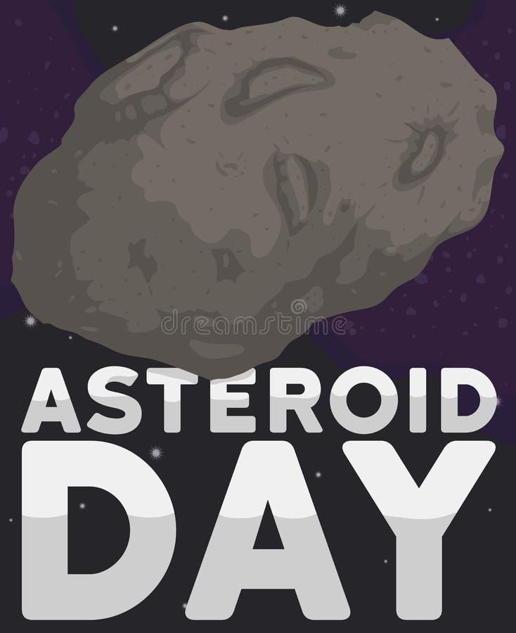 Kalme Planetoid die de Stervormige Riem cirkelen tijdens Stervormige Dag, Vectorillustratie royalty-vrije illustratie