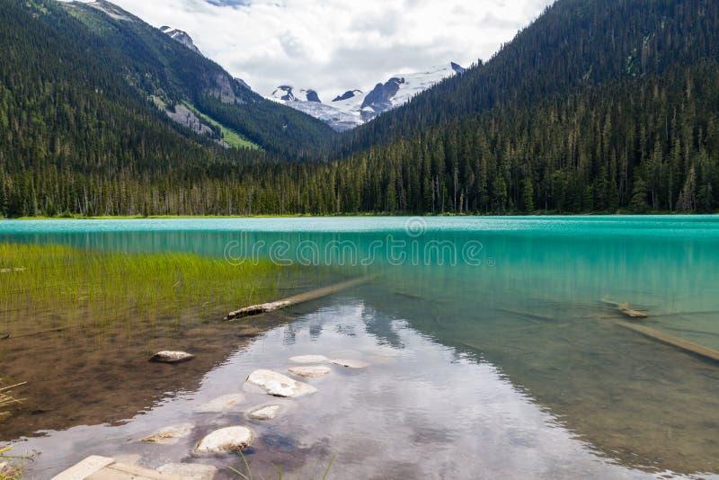 Kalme wateren van Lagere Joffre Lake-transformatie van wintertaling & turkoois stock afbeeldingen