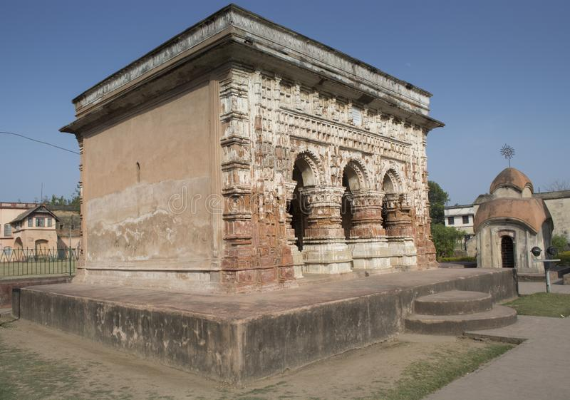 Kalna västra Bengal, Indien - Januari 28, 2018: Lera- och terrakottastrukturställningar i Mallabhum eller en Burdwan i västra Ben royaltyfria bilder