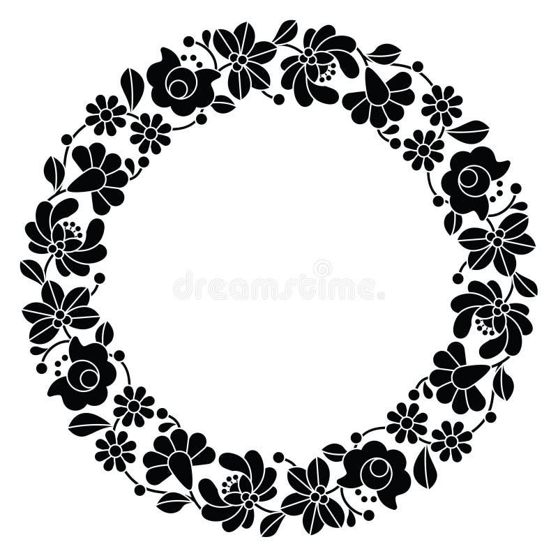 Kalocsai black embroidery in circle - Hungarian floral folk pattern royalty free illustration