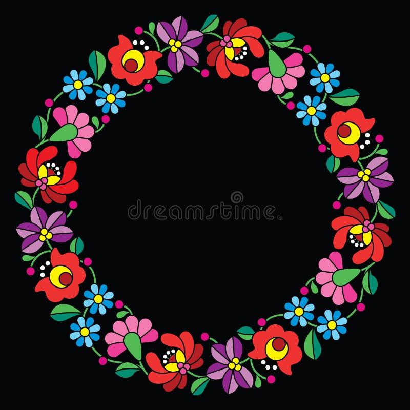 Kalocsai embroidery in circle - Hungarian floral folk pattern on black stock illustration
